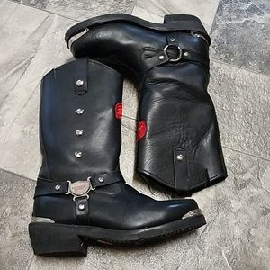 Red Wing Motorcycle Harness Boots Red Embroidery 8